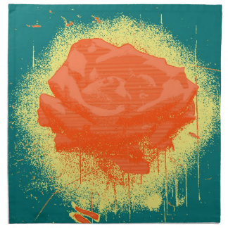 Vintage Red Rose Fine Art Cloth Napkin