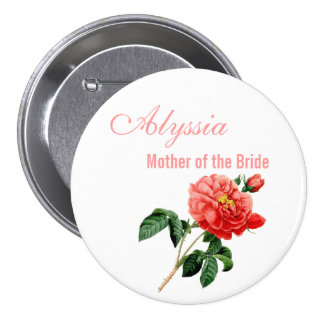 vintage red rose flowers mother of the bride button