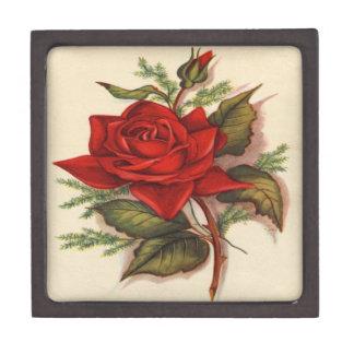 Vintage, Red Rose Gift Box