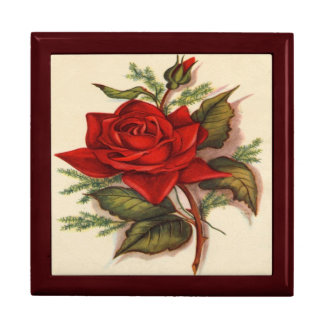 Vintage, Red Rose Gift Box