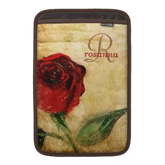Vintage Red Rose Girly Monogram MacBook Sleeves