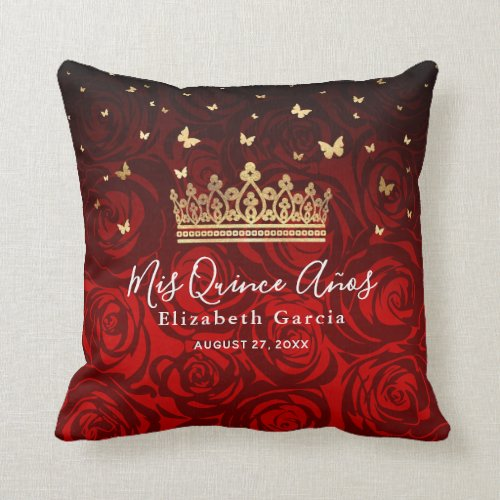 Vintage Red Rose Gold Quinceanera Mis Quince Anos Throw Pillow