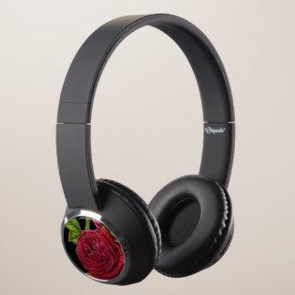 Vintage Red Rose Headphones