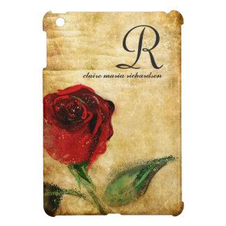 Vintage Red Rose Monogram iPad Mini Case