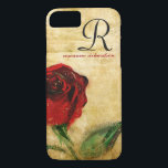 """Vintage Red Rose Monogram iPhone 8/7 case<br><div class=""""desc"""">Sophisticated, stylish, and elegantly feminine vintage red rose on aged chic grunge background. iPhone 6 case for professional ladies and women with script monogram. the initial and name, or add your own personalized text, corporate identity, or company name. Click &quot; It&quot; to change the font size, color or style. Makes...</div>"""