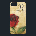"Vintage Red Rose Monogram iPhone 8/7 case<br><div class=""desc"">Sophisticated, stylish, and elegantly feminine vintage red rose on aged chic grunge background. iPhone 6 case for professional ladies and women with script monogram. the initial and name, or add your own personalized text, corporate identity, or company name. Click &quot; It&quot; to change the font size, color or style. Makes...</div>"