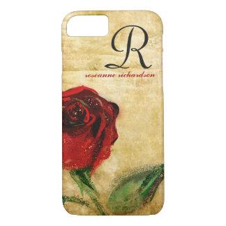 Vintage Red Rose Monogram iPhone 8/7 case