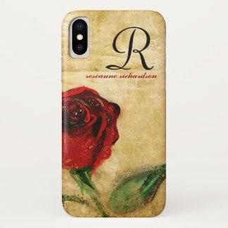 Vintage Red Rose Monogram iPhone X Case
