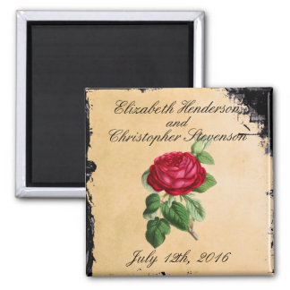 Vintage Red Rose on a Faux Tan Leather Background 2 Inch Square Magnet