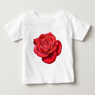 Vintage Red Rose Painted Illustration Baby T-Shirt