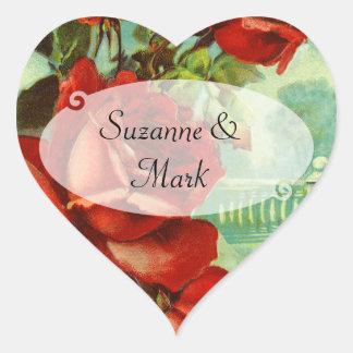 Vintage Red Rose Heart Sticker