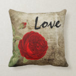 "Vintage Red Rose Throw Pillow<br><div class=""desc"">Vintage Red Rose on Grunge Background. Makes a great a gift for someone special. Made with high resolution vector and digital graphics for a professional print. NOTE: (All zazzle product designs are &quot;prints&quot; unless otherwise stated under &quot;About This Product&quot; area) The design will be printed EXACTLY like you see it...</div>"