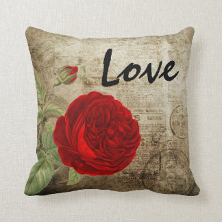 Vintage Red Rose Throw Pillow