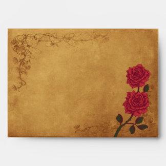 Vintage Red Rose Wedding Envelope