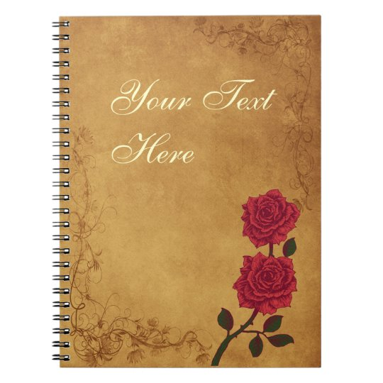 Vintage Red Rose Wedding Notebook