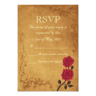 Vintage Red Rose Wedding RSVP Card
