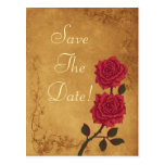 Vintage Red Rose Wedding Save The Date Postcard