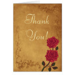 Vintage Red Rose Wedding Thank You Greeting Cards