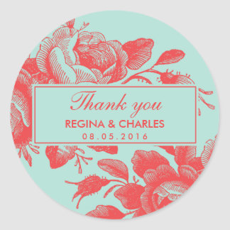 Vintage Red Rose Wedding Thank You Sticker