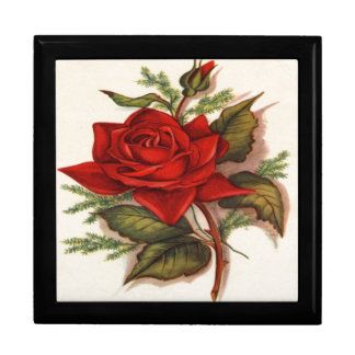 Vintage, Red Rose, Wife Birthday Keepsake Box