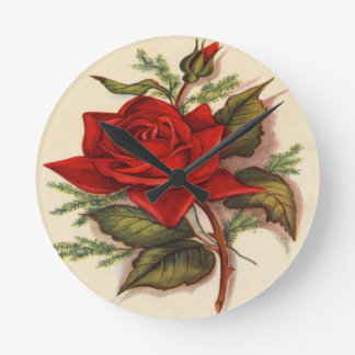 Vintage, Red Rose, Wife Birthday, Round Clock