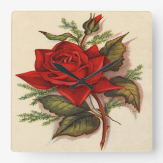 Vintage, Red Rose, Wife Birthday Square Wall Clock