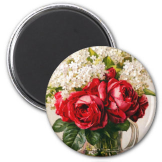 Vintage Red Roses and Baby's Breath Magnets