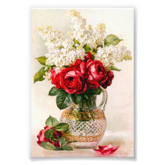 Vintage Red Roses and Baby's Breath Photo Print