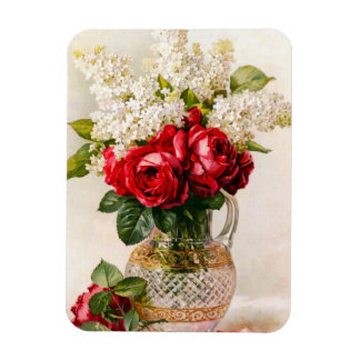 Vintage Red Roses and Baby's Breath Flexible Magnets
