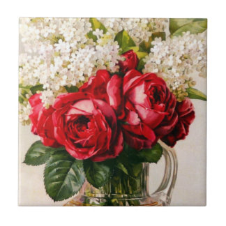 Vintage Red Roses and Baby's Breath Tile