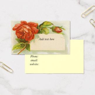 Vintage, Red Roses, Business Card