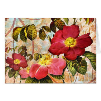 Vintage Red Roses Collage Card