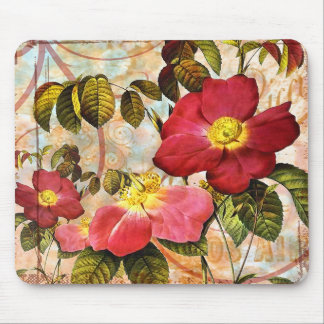 Vintage Red Roses Collage Mouse Pad