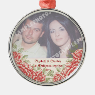 Vintage Red roses Couple's first Christmas photo Metal Ornament