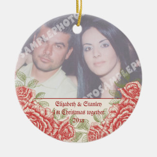 Vintage Red roses Couple's first Christmas photo Christmas Ornaments