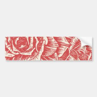 Vintage red roses custom bumper sticker car bumper sticker