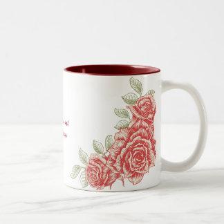 Vintage red roses custom mug