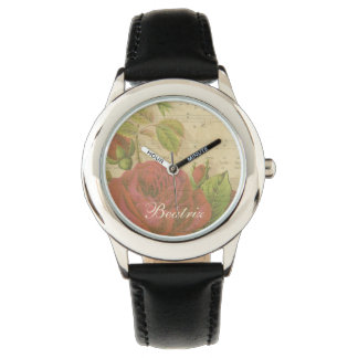 Vintage Red Roses Floral Music Sheet Custom Name Wrist Watch
