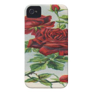 Vintage, Red Roses, Girlfriend Birthday iPhone 4 Case