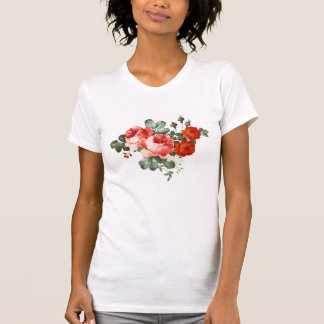 Vintage Red Roses Hand Drawn Style Tee Shirt