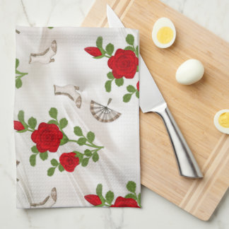Vintage Red Roses Hand Towels