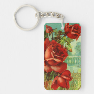 Vintage Red Roses Keychain