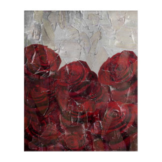 Vintage Red Roses Oil Pallete Texture Acrylic Wall Art