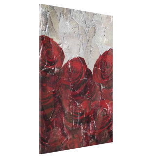 Vintage Red Roses Oil Pallete Texture Canvas Print