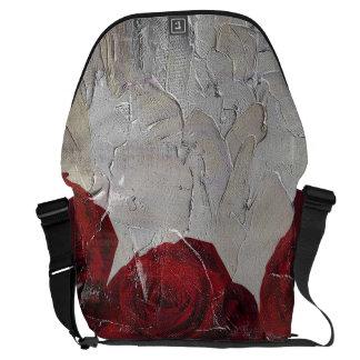 Vintage Red Roses Oil Pallete Texture Messenger Bag