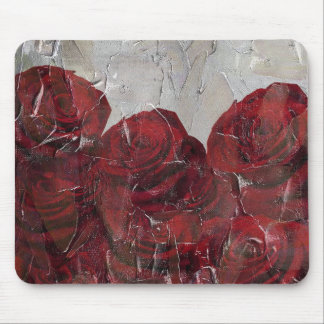 Vintage Red Roses Oil Pallete Texture Mouse Pad