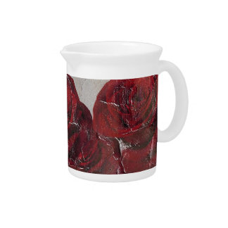 Vintage Red Roses Oil Pallete Texture Pitcher