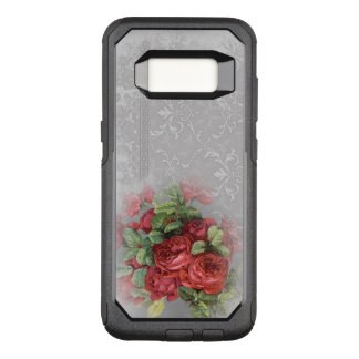 Vintage Red Roses on Gray Damask Otter Box OtterBox Commuter Samsung Galaxy S8 Case