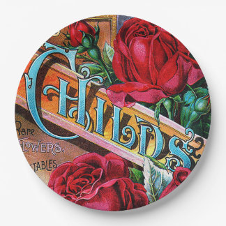 Vintage Red Roses Paper Plate