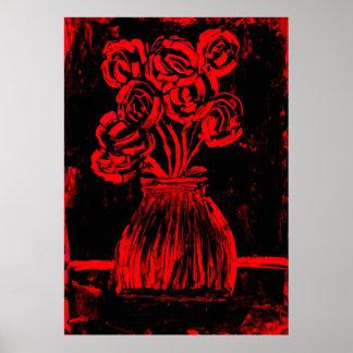 Vintage Red Roses Poster